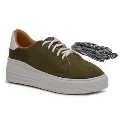Tenis Young Charlotte Verde Militar - Charlotte Shoes