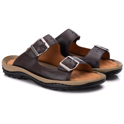 Chinelo Anti Stress Comfort Masculino em Couro Caf... - Ranster Confort