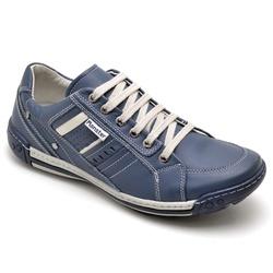 Sapatênis Masculino Couro Azul Comfort - 3005 - Ranster Confort