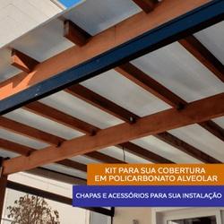 Kit 6 Chapas De Policarbonato Alveolar 105cm x 300cm x 6 Mm e Acessóri... - COBERCHAPAS