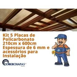Kit 5 Chapas De Policarbonato Alveolar 210 x 600 Cm 6 Milímetros e Ace... - COBERCHAPAS
