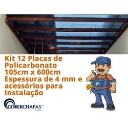 Kit 12 Placas De Policarbonato 1,05x6x6 Mm e Acessórios Para Instalaçã... - COBERCHAPAS