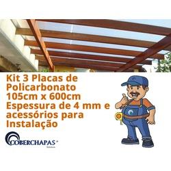 Kit 3 Chapas De Policarbonato Alveolar 105 x 600 4 Milímetros e Acessó... - COBERCHAPAS