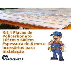 Kit 4 Placas De Policarbonato 1,05x6x 6mm + Acessórios Para Instalação... - COBERCHAPAS