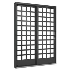 Porta De Correr Lateral 1,60m Quadriculada Vidro 2... - Sertãozinho Construlider