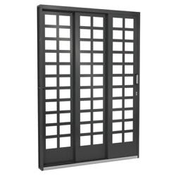 Porta De Correr Lateral 2,0m Quadriculada Vidro 3 ... - Sertãozinho Construlider