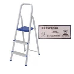 Escada Alumínio 3 Degraus-Mor - Cores Vivas Home Center