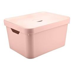 Caixa Organizadora Cube G 32 Litros Rosa Com Tampa... - Cores Vivas Home Center