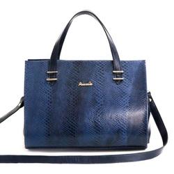 Bolsa feminina Poucelle em Couro / Croco Azul Marinho