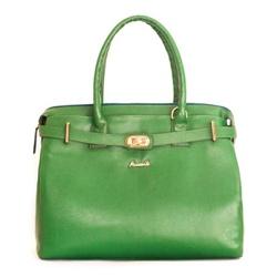 Bolsa feminina de ombro em Couro cor verde alça removível