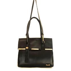 Bolsa feminina Poucelle em Couro cor preto alça removível