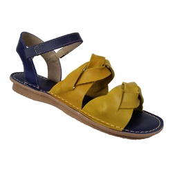 Sandália Rasteira Feminina em Couro Amarelo e Azul