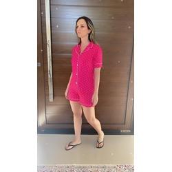 Pijama Americano Curto Pink Poá - DELLYUS