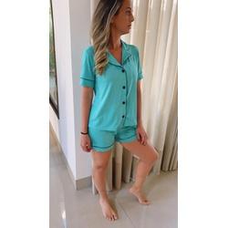 Pijama Americano Curto Verde Esmeralda - DELLYUS