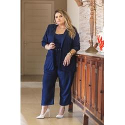 Blazer Linho Azul Marinho - Plus Size - DELPHINA