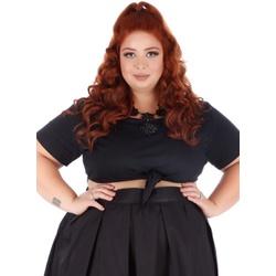 Blusa Cropped Nó Preta - Plus Size - DELPHINA