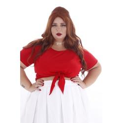 Blusa Cropped Nó Vermelha - Plus Size - DELPHINA