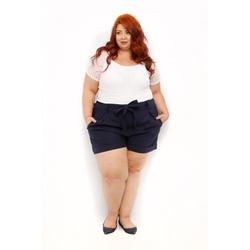 Blusa Listrada Transparência Branca - Plus Size - DELPHINA