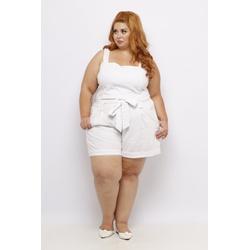 Short Clochard Linho Branco Plus Size - DELPHINA