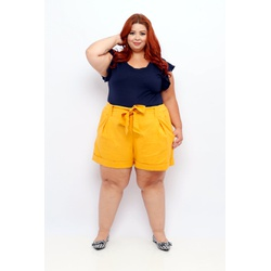 Short Clochard Linho Mostarda Plus Size - DELPHINA