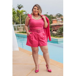 Top Babadinho Linho Pink - Plus Size - DELPHINA