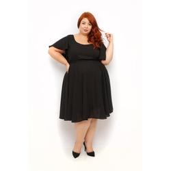 Vestido Crepe Preto Básico - Plus Size - DELPHINA