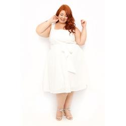 Vestido Laise Branco - Plus Size - DELPHINA