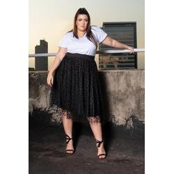 Blusa Podrinha Gola V Branca - Plus Size - DELPHINA