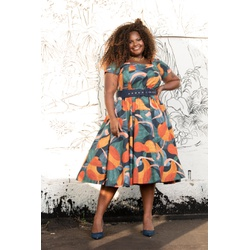 Vestido Godê Algodão MultiColor - Plus Size - DELPHINA