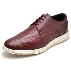 Sapatenis Casual Masculino D&R Shoes Em Couro Legitimo Vinho - D&R SHOES