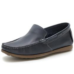 Sapato Mocassim Masculino Em Couro Legítimo Marinho - D&R SHOES