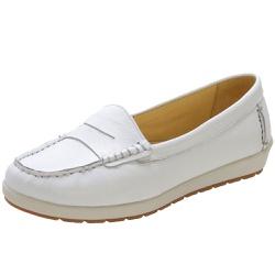 Sapato Feminino Mocassim Em Couro Legítimo Branco - D&R SHOES