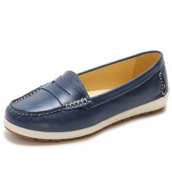 Sapato Feminino Mocassim Em Couro Legítimo Marinho - D&R SHOES