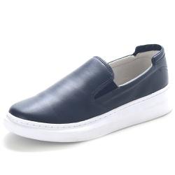 Sapato Slip On Prime Masculino Em Couro Legítimo Marinho - D&R SHOES