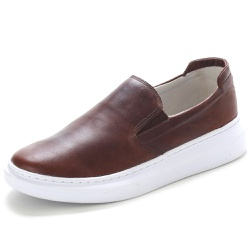 Sapato Slip On Prime Masculino Em Couro Legítimo Tabaco - D&R SHOES
