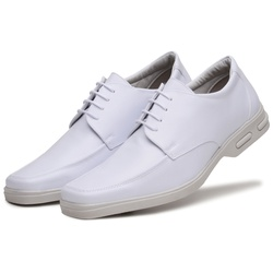 Sapato Social Masculino Bico Quadrado em Couro Sintetico Branco - D&R SHOES