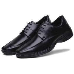 Sapato Social Masculino em Couro Ecologico Preto - D&R SHOES