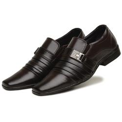 Sapato Social Masculino Em Couro Tecnológico Café - D&R SHOES