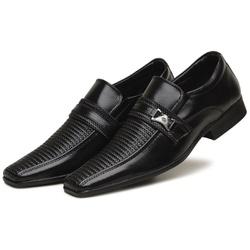 Sapato Social Masculino Em Couro Tecnológico Preto - D&R SHOES