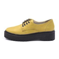 Sapato Oxford Feminino Casual em Couro Legitimo Amarelo - D&R SHOES