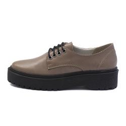 Sapato Oxford Feminino Casual em Couro Legitimo Areia - D&R SHOES