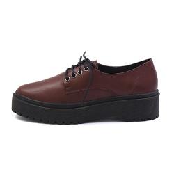 Sapato Oxford Feminino Casual em Couro Legitimo Bordo - D&R SHOES