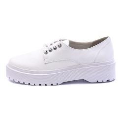 Sapato Oxford Feminino Casual em Couro Legitimo Branco - D&R SHOES