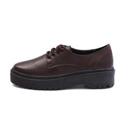 Sapato Oxford Feminino Casual em Couro Legitimo Café - D&R SHOES