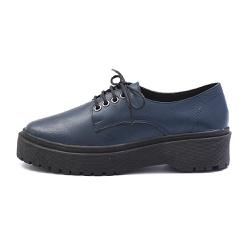 Sapato Oxford Feminino Casual em Couro Legitimo Marinho - D&R SHOES