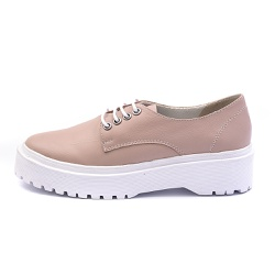 Sapato Oxford Feminino Casual em Couro Legitimo Nude - D&R SHOES