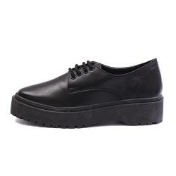 Sapato Oxford Feminino Casual em Couro Legitimo Preto - D&R SHOES