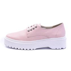 Sapato Oxford Feminino Casual em Couro Legitimo Rosa - D&R SHOES