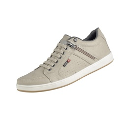 Tenis Casual Masculino Couro Ecologico Bege - D&R SHOES