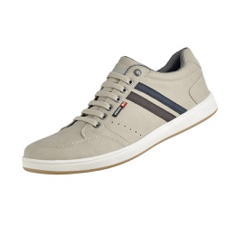 Tenis Casual Masculino Couro Ecologico com Listras Bege - D&R SHOES